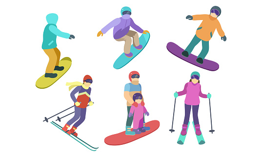 Set of different skiers and snowboarders characters. Vector illustration in flat cartoon style.