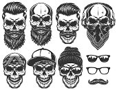 Set of different skull characters with different modern street style city attributes.