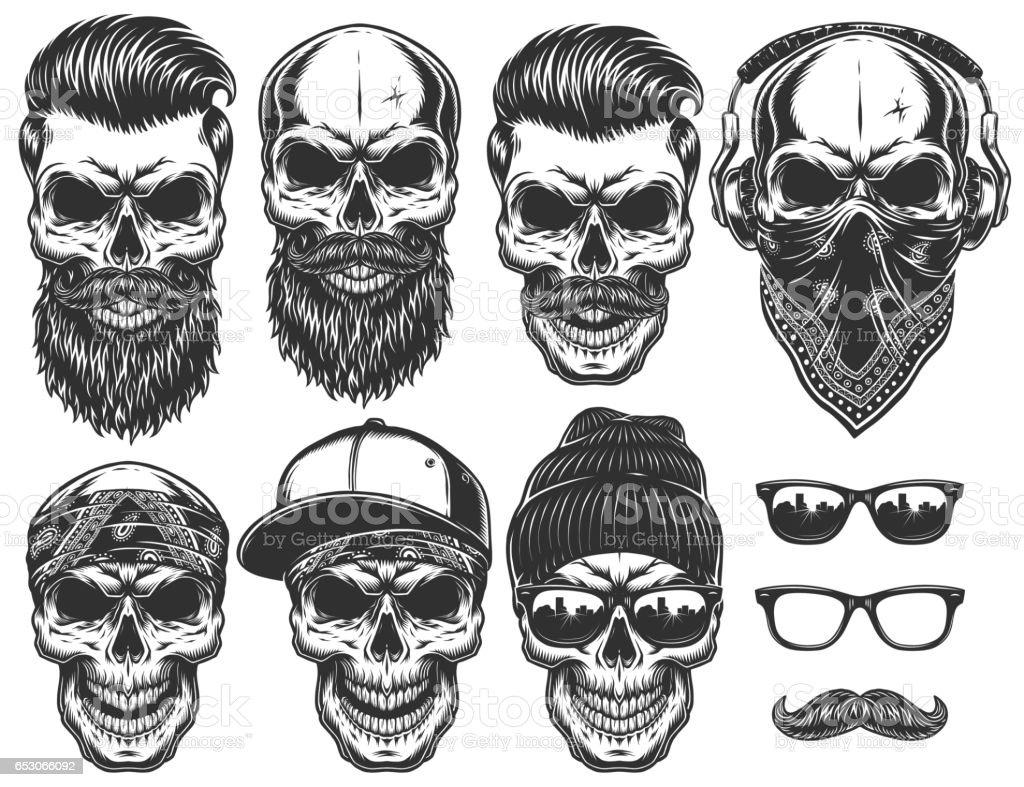 Conjunto de caracteres de cráneo diferentes con atributos ciudad de distintos estilo urbano moderno. - ilustración de arte vectorial