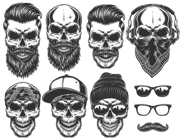 ilustrações de stock, clip art, desenhos animados e ícones de set of different skull characters with different modern street style city attributes. - barba