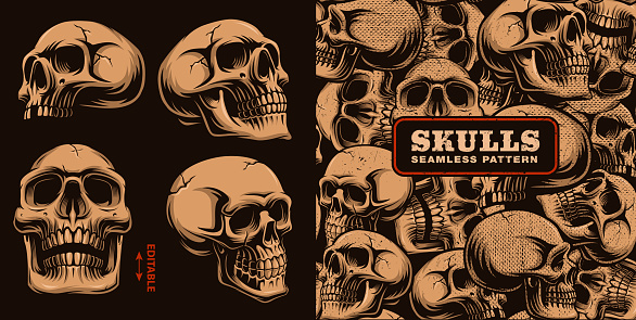 Set of different skulls with seamless pattern.