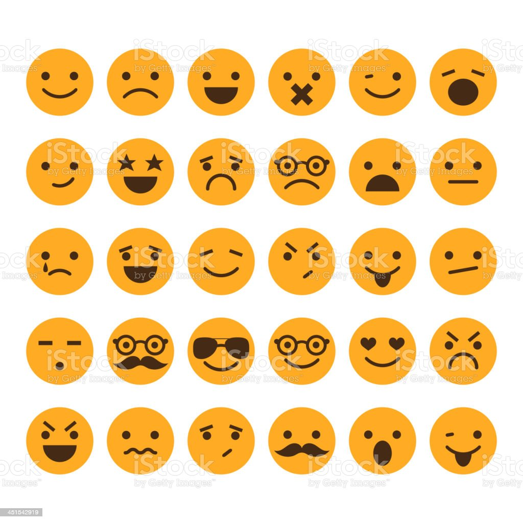 Set of different smileys vector vector art illustration