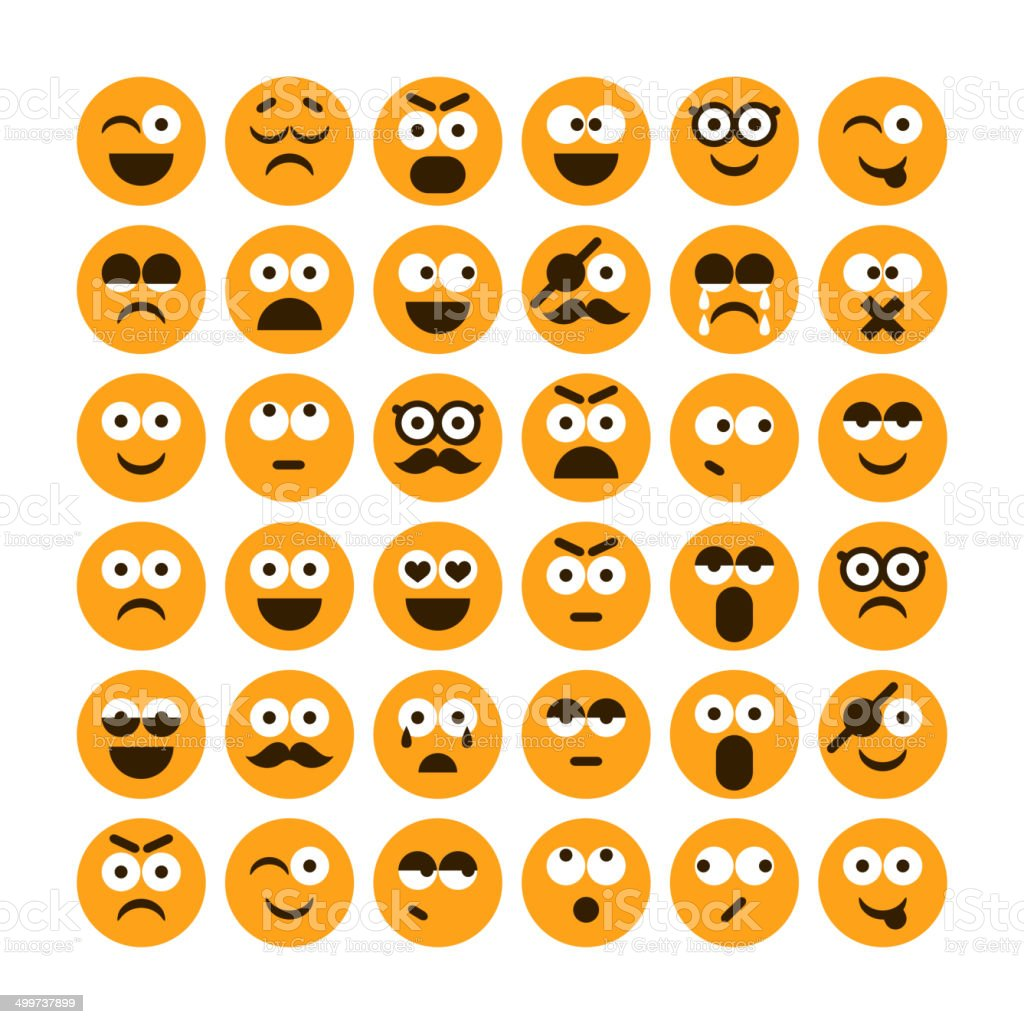 Set of different smiling icons vector art illustration