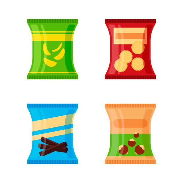 bildbanksillustrationer, clip art samt tecknat material och ikoner med uppsättning av olika snacks - salta chips, kex, choklad pinnar, nötter isolerad på vit bakgrund. produkt för varuautomat. flat illustration i vektorgrafik - potatischips