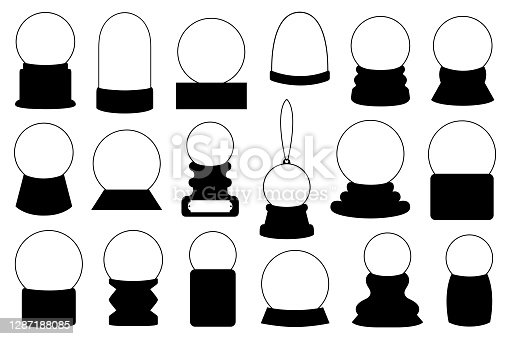 Set of different snow globes isolated on white
