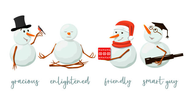 satz von verschiedenen schneemänner. kostbar, frostig, gnädig mit geschenk, aufgeklärten, freundlich, schielen, vogel, yoga. isoliert. - karotte peace stock-grafiken, -clipart, -cartoons und -symbole
