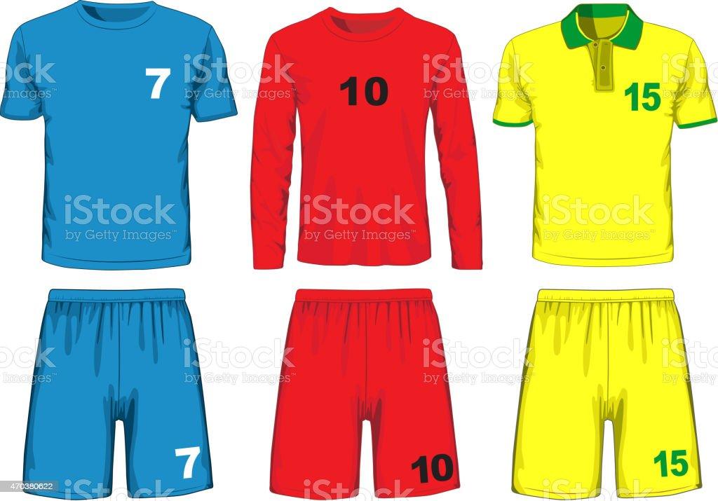 Set of different soccer uniform. Vector vector art illustration