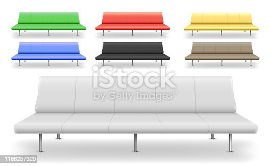 Set of different sofas benches. The waiting area. Hall furniture or corridor