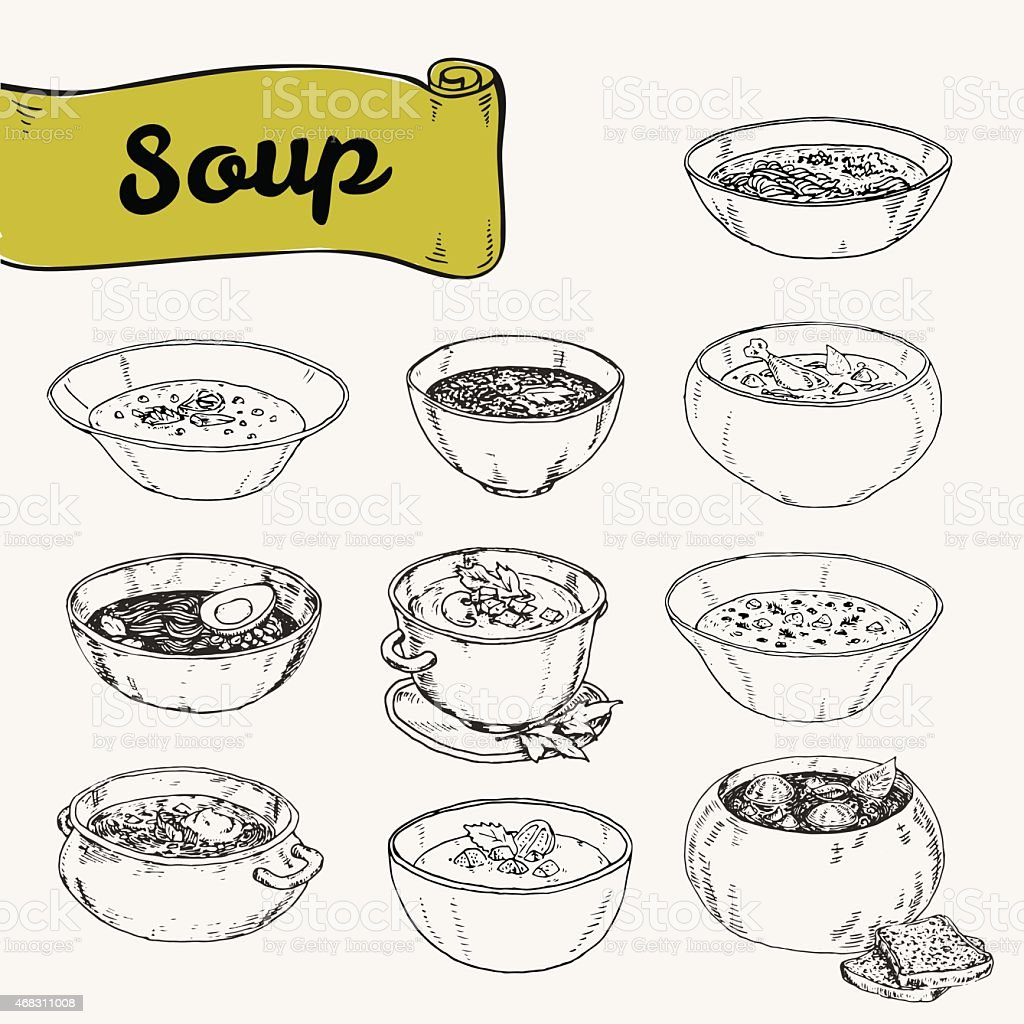set of different soups national cuisine vector art illustration