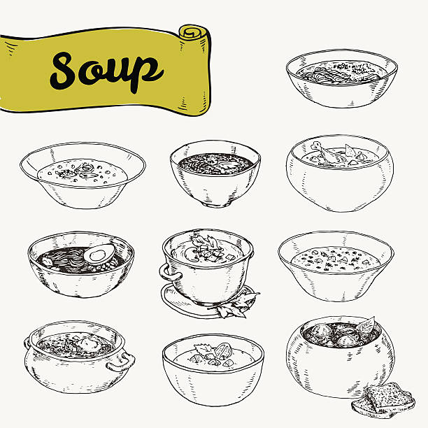 stockillustraties, clipart, cartoons en iconen met set of different soups national cuisine - groentesoep