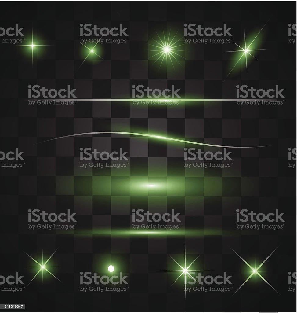 Set of different sparkling green light effects vector art illustration