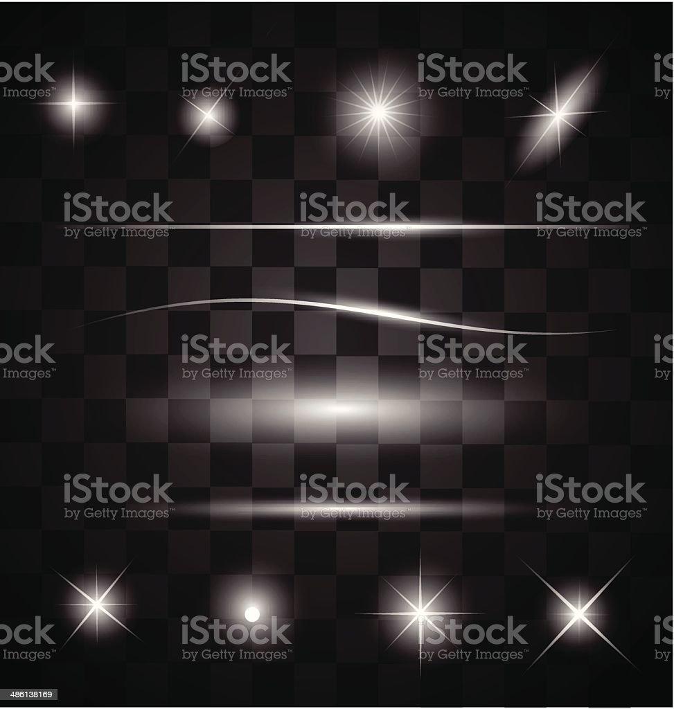 Set of different sparkling white light effects vector vector art illustration