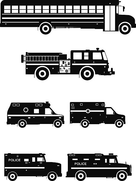 Set of different special cars. Vector illustration Silhouette illustration of special machines on white background fire engine stock illustrations