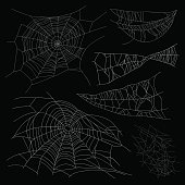 Set of different spiderwebs