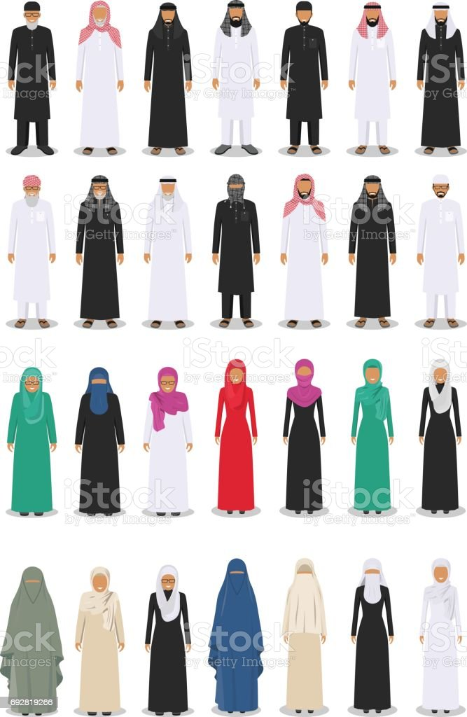 Set of different standing arab adult and old people in the traditional muslim arabic clothing isolated on white background in flat style. Vector illustration vector art illustration