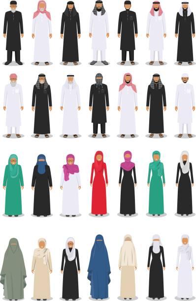 不同的常設阿拉伯成人和老人們在傳統穆斯林阿拉伯文服裝孤立在平面樣式中的白色背景上的一套。向量圖 - emirati woman 幅插畫檔、美工圖案、卡通及圖標