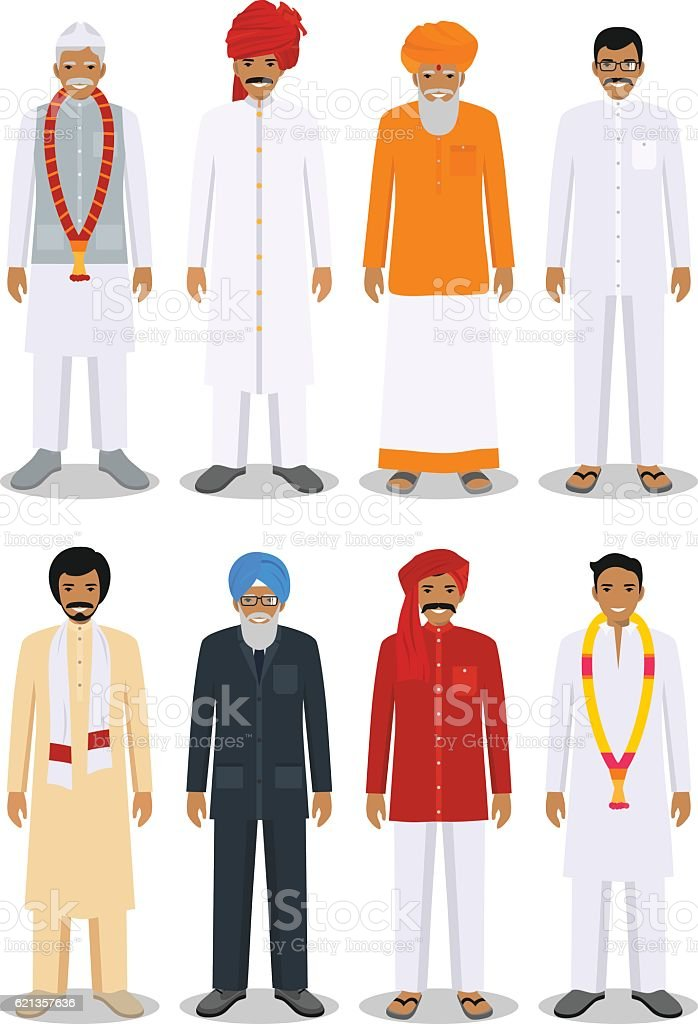 Set of different standing indian old and young men. Vector. vector art illustration