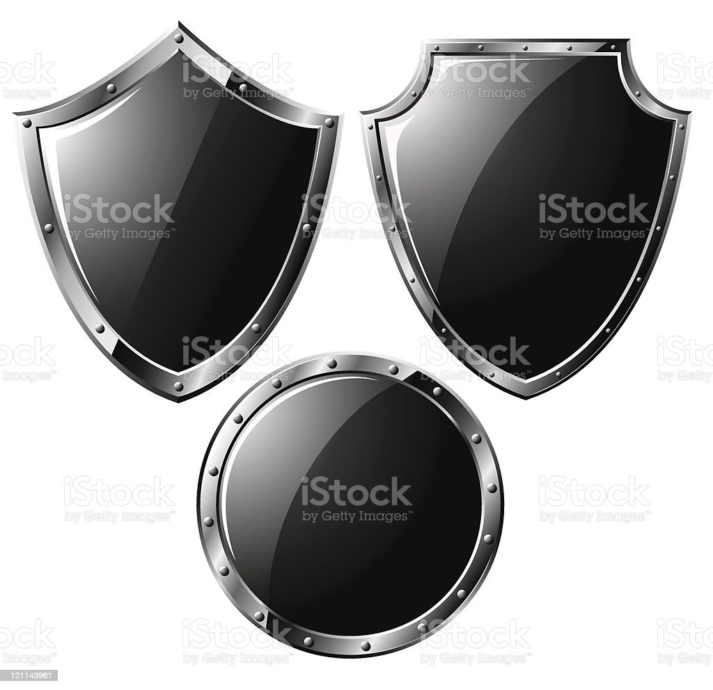 Set of different steel shields isolated on white vector art illustration
