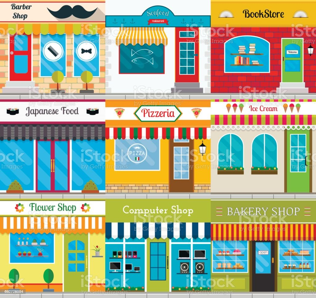 Set of different store fronts in flat style. Vector collection of small shop and restaurant facades. vector art illustration