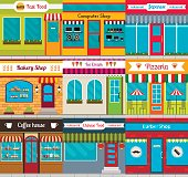 Set of different store fronts in flat style. Vector illustration of cafe, shops and restaurants facades.