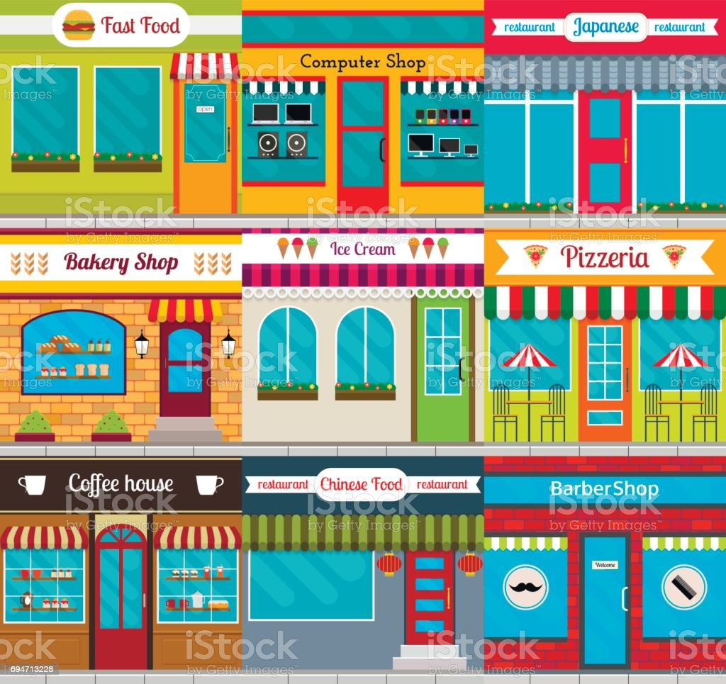 Set of different store fronts in flat style. Vector illustration of cafe, shops and restaurants facades. vector art illustration