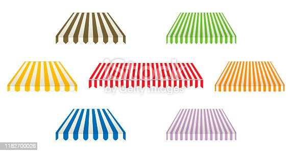Set of different striped awnings isolated on white background, color vector illustration. Outdoor canopy with various edges. Marketplace tent roof, template for design.