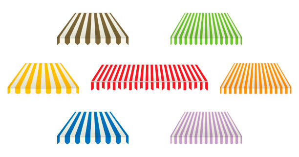 Set of different striped awnings isolated on white background, color vector illustration. Outdoor canopy with various edges. Marketplace tent roof, template for design Set of different striped awnings isolated on white background, color vector illustration. Outdoor canopy with various edges. Marketplace tent roof, template for design. pavilion stock illustrations