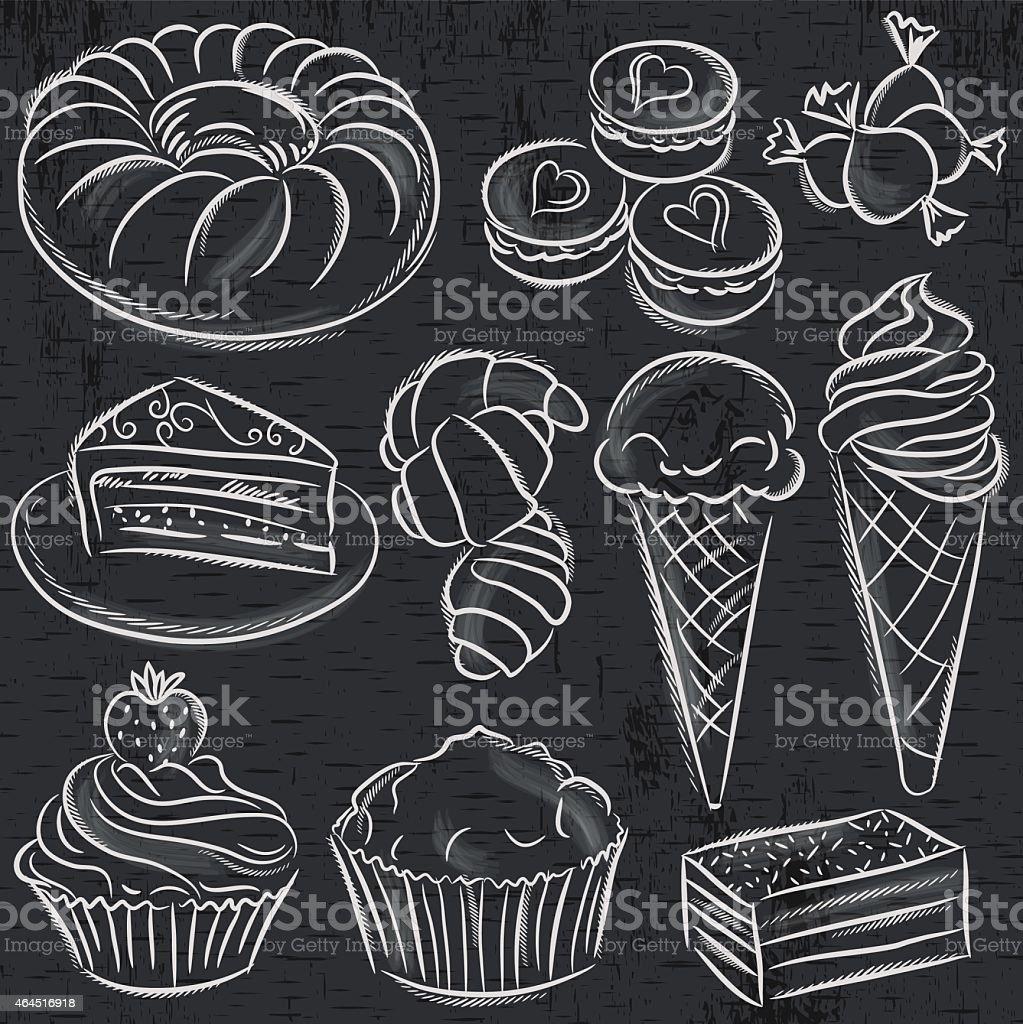 set of different sweetmeats on blackboard, vector vector art illustration