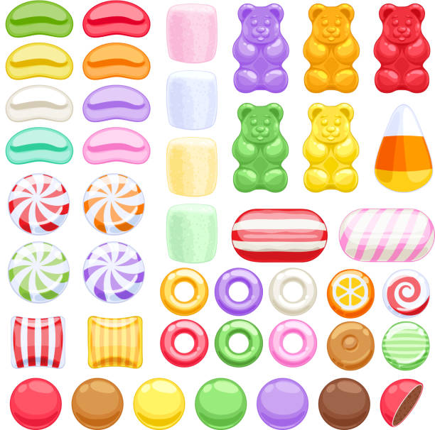 Set of different sweets. Assorted candies Set of different sweets on white background - marshmallow gummy bears hard candies dragee jelly beans peppermint candy. Vector illustration. jello stock illustrations