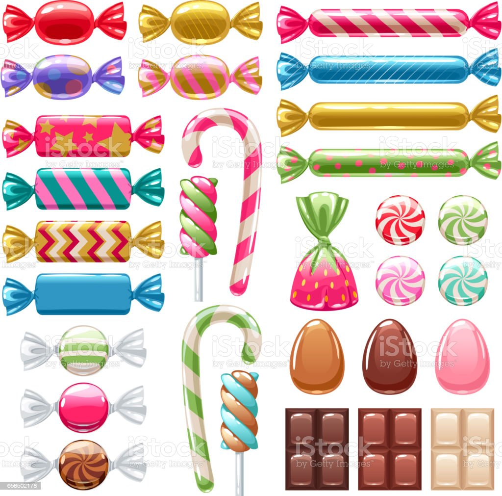 Set of different sweets. Assorted candies vector art illustration