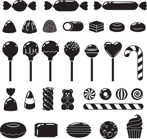 Set of different sweets. Assorted candies Set of black and white sweets - marshmallow, gummy bears, hard candies, dragee, jelly, licorice, candy cane, peppermint candy, donut, cupcake macaron cookie vector illustration candy icons stock illustrations