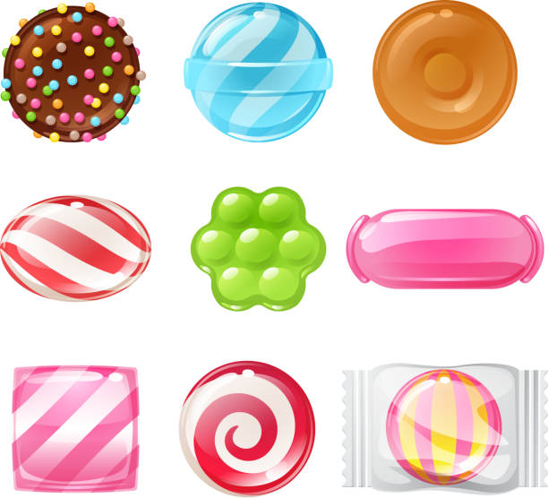 Set of different sweets. Assorted candies Set of sweets on white background hard candy, dragee, lollipop, toffee, jelly, peppermint candy, chocolate vector illustration mint candy stock illustrations