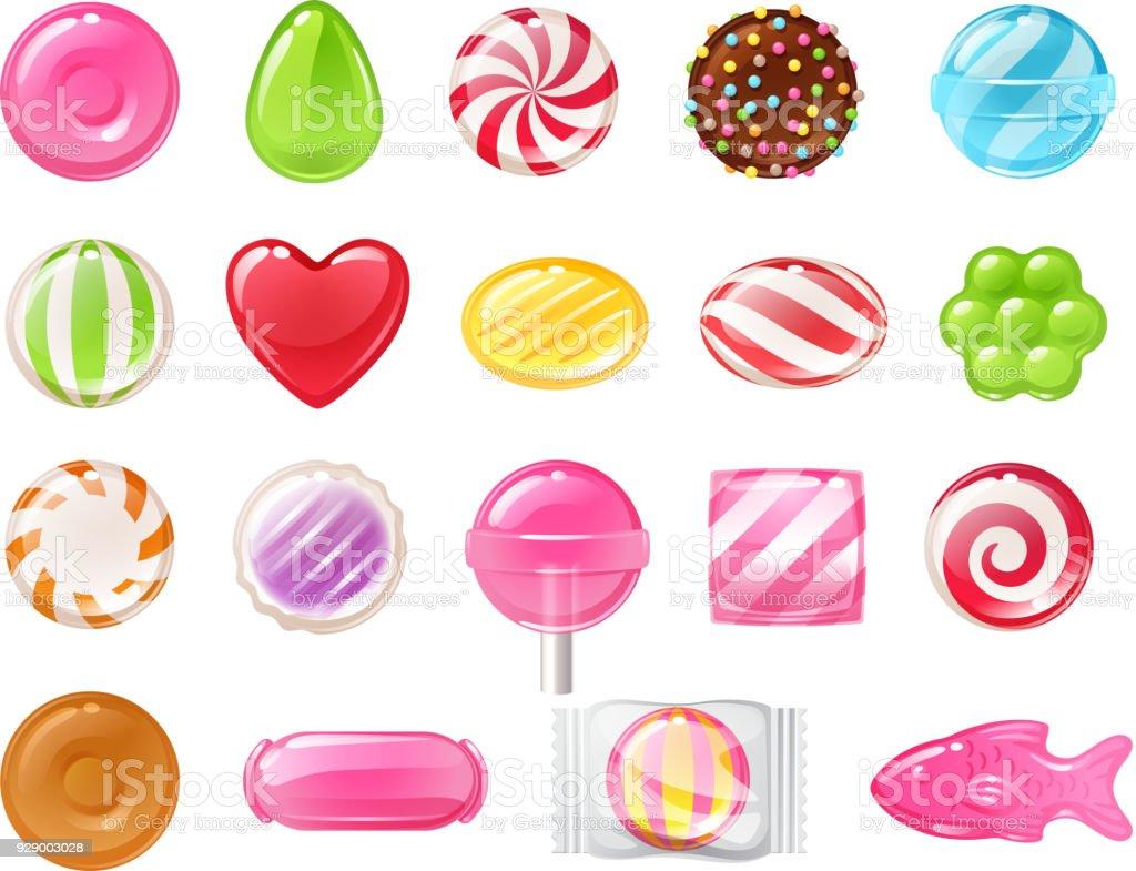 Conjunto de diferentes dulces. Variado, golosinas - ilustración de arte vectorial