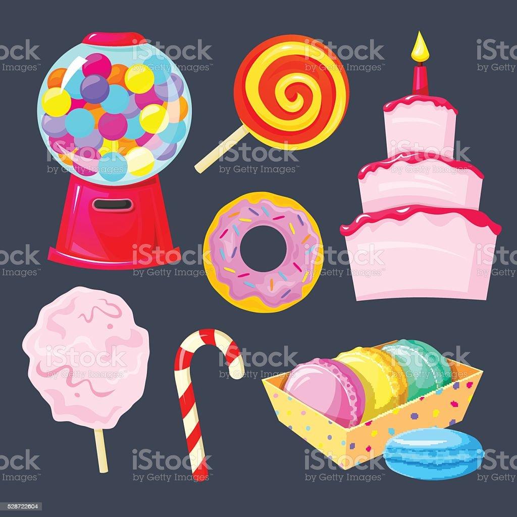 Set of different sweets, vector illustration vector art illustration