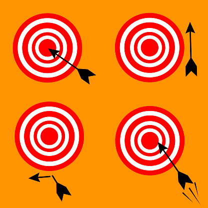 Set of different targets and arrows.