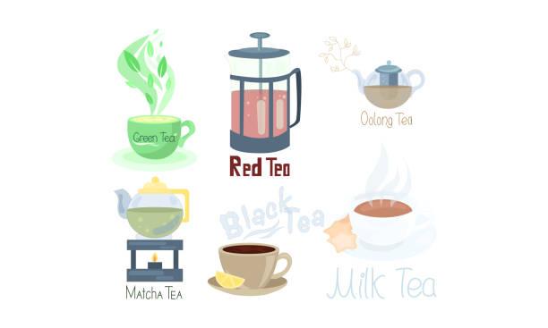 stockillustraties, clipart, cartoons en iconen met set van verschillende thee soorten en thee supplementen. de illustratie van de vector in vlakke beeldverhaalstijl. - oost duitsland