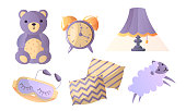 Collection set of things in thematic of healthy sweet sleep. Soft pillows, sheep, sleeping mask, alarm clock, lamp, teddy bear. Isolated icons set illustration on a white background in cartoon style