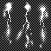 Set of Different Thunders on Grey Checkered Background