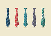 Set of different ties. Vector illustration