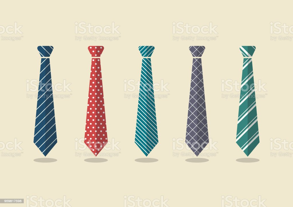 Set of different ties vector art illustration