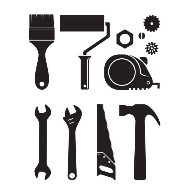 Royalty Free Drawing Of Vintage Carpenter Tools Clip Art ...