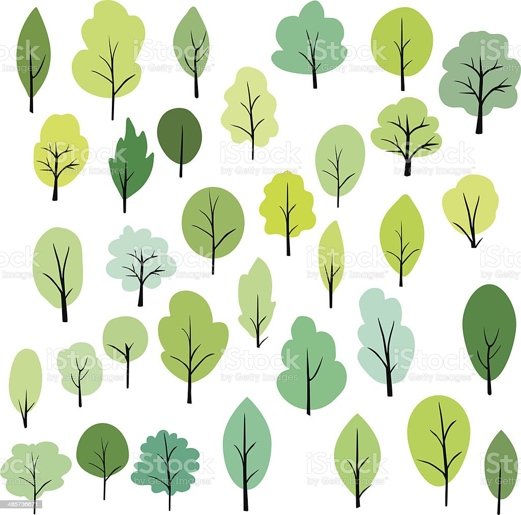 set of different trees vector art illustration