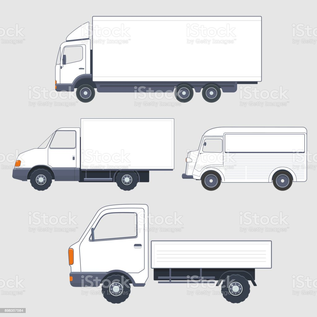 Set Of Different Trucks And Van Truck Bodies Stock Illustration Download Image Now Istock
