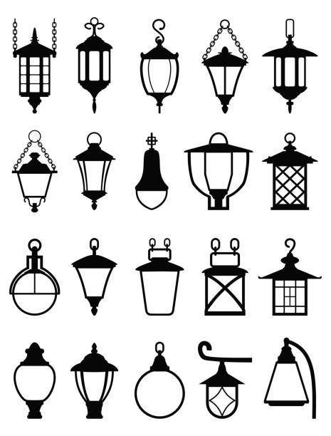 Set of different types of black silhouettes lamps. Vector illustration. Vector detailed illustration of black silhouettes of plafonds of street lamps isolated in a flat style on white background. Set of street lamps lantern stock illustrations