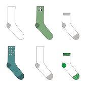 Set of different types of cotton socks. Vector illustration