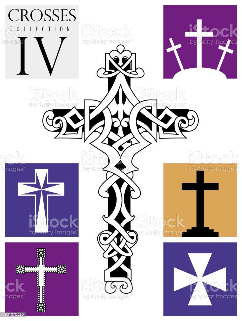 Tipos De Cruces ilustración de conjunto de diferentes tipos de cruces sobre fondo