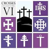 Ilustración De Conjunto De Diferentes Tipos De Cruces Sobre Fondo