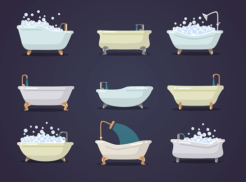 Set of different types of cute bath tubes vector illustration. Luxury bathtubes with foam and golden details flat design. Bathroom concept. Isolated on navy background