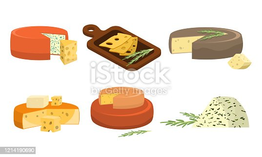 Collection set of different types of fresh pieces of cheese.Delicious cheese concept. Isolated icons set illustration on a white background in cartoon style.