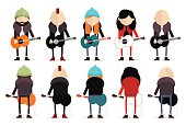 Set of different types of guitarists.
